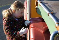 Photograph of a child looking at play equipment