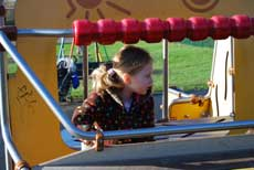 Photograph of a child on play equipment
