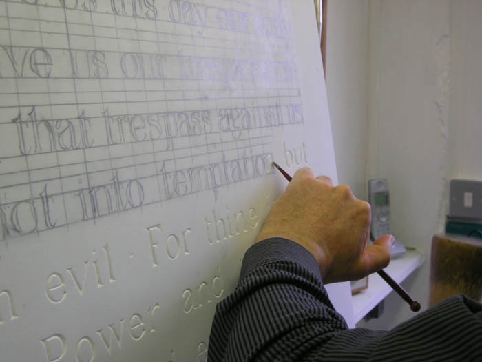 A close-up of the lettering on the Darnley Mausoleum reredos being recreated by Gary Churchman. Photograph taken by Sarah Jackson on 11 April 2008.