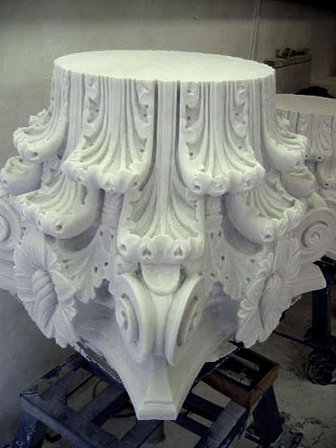 A replacement capital (shown upside down) carved by Gary Churchman for the Darnley Mausoleum at Cobham Park in Kent, summer 2007. Photograph by Gary Churchman, August 2007.