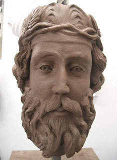 life-sized maquette (a clay model) of the head