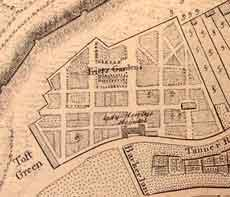 Telfords' Nursery, Friar's Gardens, Toft Green. Detail of Chassereau's 1766 map of York, courtesy of York City Library.