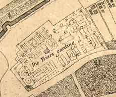 The 'Frier's Garding' (location of the Telfords' nursery) showing the layout of the planting on the 1697 Map by Horsley. Image courtesy of York City Library.