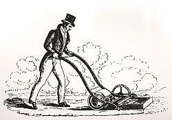 Printed illustration of a gentleman pushing a lawnmower designed in 1830 by Edwin Beard Budding.