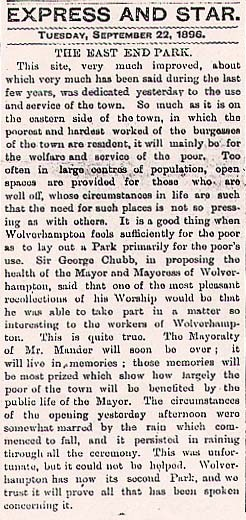 NEWSPAPER ARTICLE 22June 1892 : Wolverhampton Archives & Local Studies