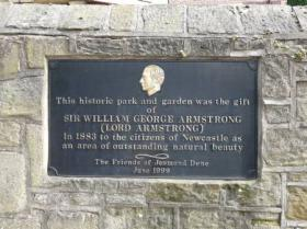DEDICATION PLAQUE JESMOND DENE: David Walmsley