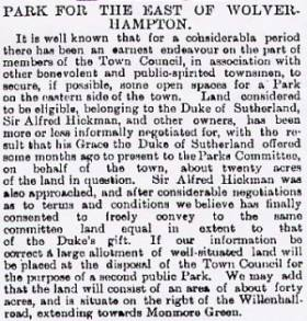 NEWSPAPER ARTICLE 22June 1892: Wolverhampton Archives & Local studies