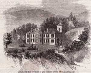 Illustration of the Sanatorium for Consumption and Diseases of the Chest, Bournemouth, showing the buildings and landscaped grounds. Published in the Illustrated London News, December 1859.