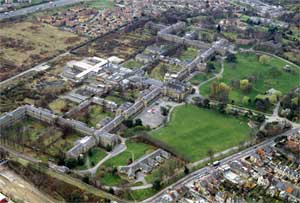 Colour photograph of aerial view of Colney Hatch Asylum showing the size that institutions could become. Crown copyright (NMR 14995/30).