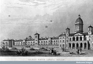 Illustration of the Colney Hatch Lunatic Asylum, Middlesex. Image courtesy of the Wellcome Medical Library.