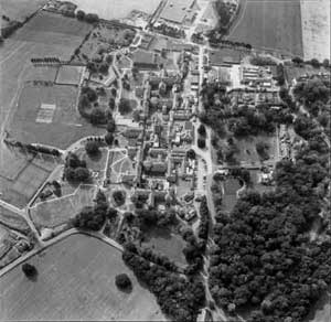 Black-and-white photograph of an aerial view of the Northampton County Lunatic Asylum.