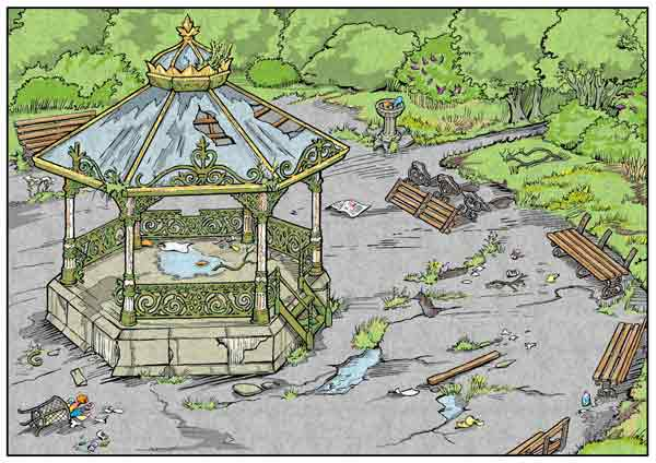 Derelict bandstand illustration