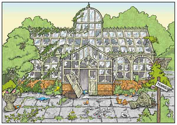 Disused glasshouse illustration