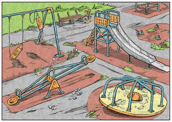 Illustration of derelict playground