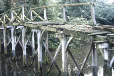 2. Photograph of the Chinese Bridge at Painshill Park before restoration, with obviously decayed and missing timbers.