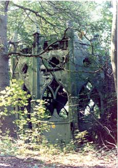 Photograph of the Gothic Temple, Painshill, before restoration. Copyright Painshill Park Trust.