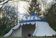Photograph of the re-created Turkish Tent, Painshill Park, December 2004. Copyright: Painshill Park Trust.