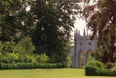 The Gothic Temple, Painshill Park, viewed from the Amphitheatre, photographed in September 2004. Copyright: Painshill Park Trust, 2004.