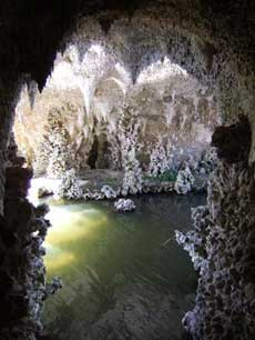 The interior of the Grotto, Painshill Park, showing the restored pool. Copyright: Louise Wickham, 2006.