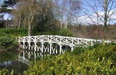The restored Chinese Bridge, Painshill Park in spring 2006. Photograph copyright: Louise Wickham, 2006.