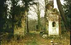 Photograph of the Mausoleum, Painshill before restoration. Copyright Painshill Park Trust.