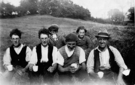 Haytime drinkins – Irish migrant workers and Kibbat family. Ellingstring, Wensleydale, 1930s. Photograph courtesy of Christel Kibbat