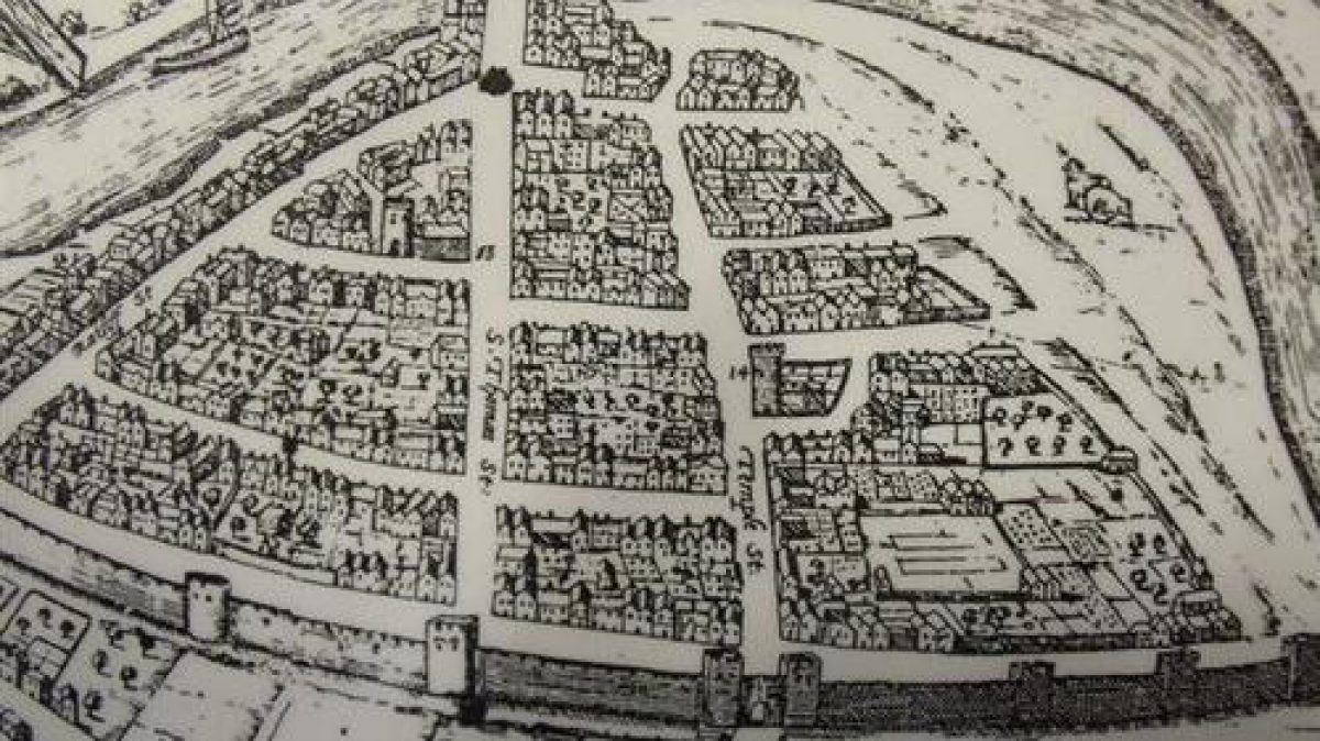 Pgds 20100526 100233 Figure 2 Etching Made By Hoefnagels In 1581 Shows The Church With Its Tower Surrounded By Dwellings